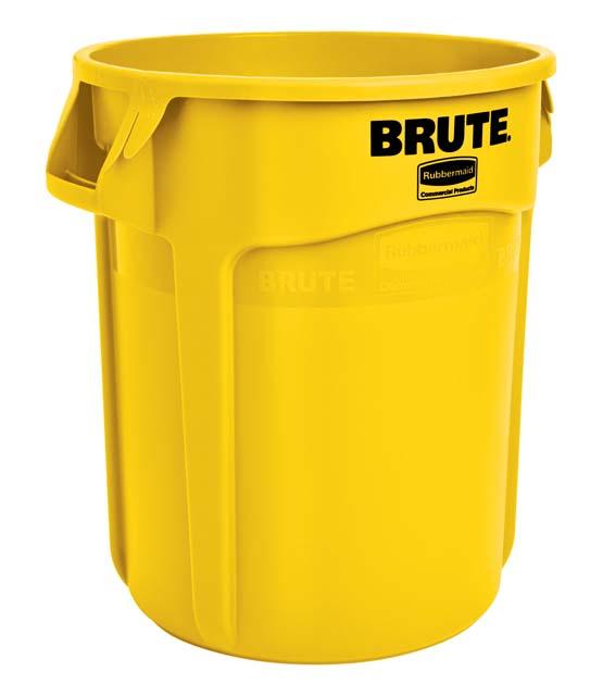 Vented BRUTE 丸型コンテナ 76L (20ガロン) 黄