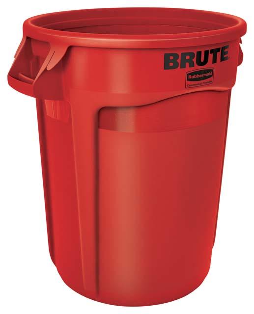 Vented BRUTE 丸型コンテナ 121L (32ガロン) 赤