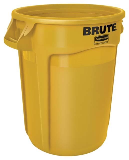 Vented BRUTE 丸型コンテナ 121L (32ガロン) 黄