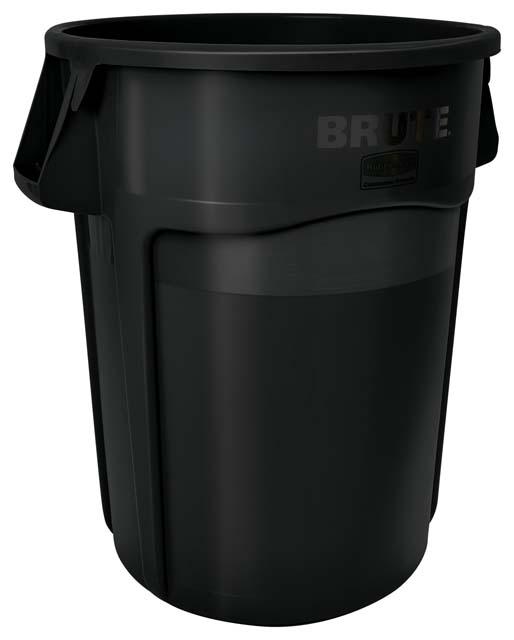 Vented BRUTE 丸型コンテナ 166L (44ガロン) 黒