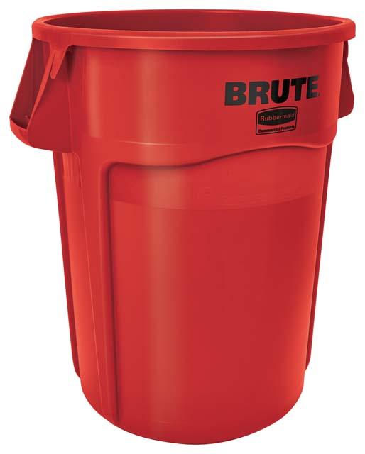 Vented BRUTE 丸型コンテナ 166L (44ガロン) 赤