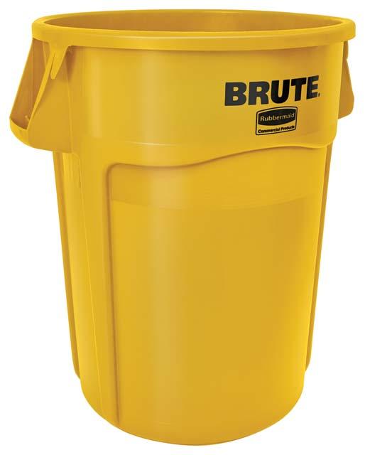 Vented BRUTE 丸型コンテナ 166L (44ガロン) 黄