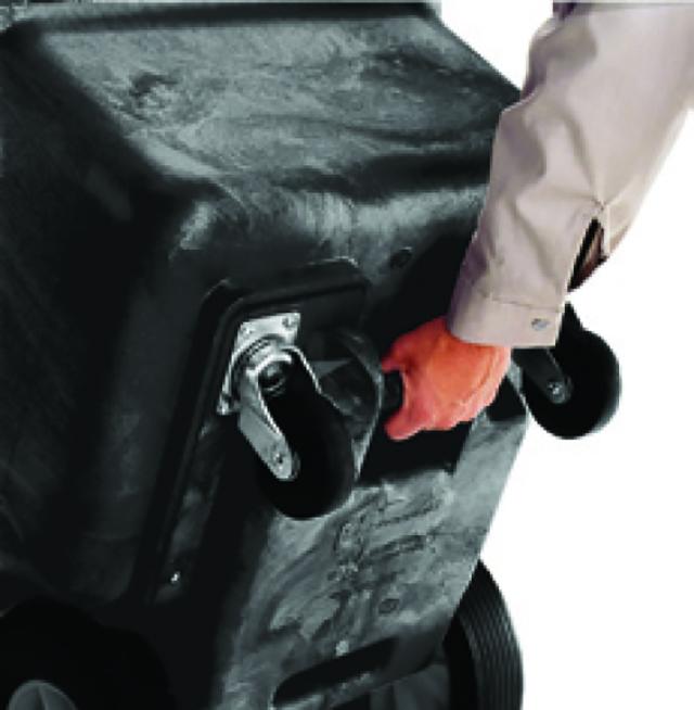 底部のハンドルが廃棄時の操作をサポート。